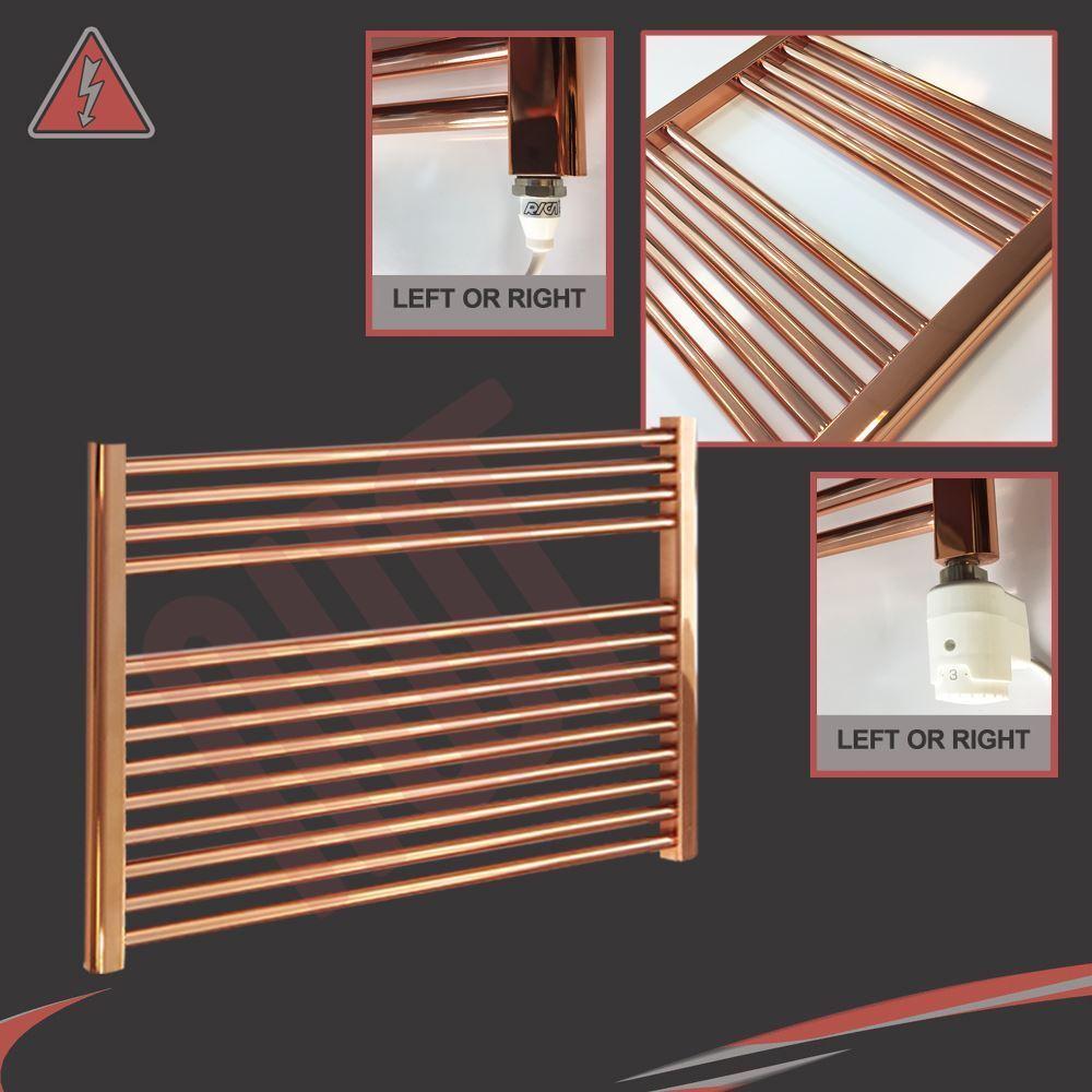 900mm(w) x 600mm(h) Pre-Filled Electric Straight Copper Towel Rail - 300W