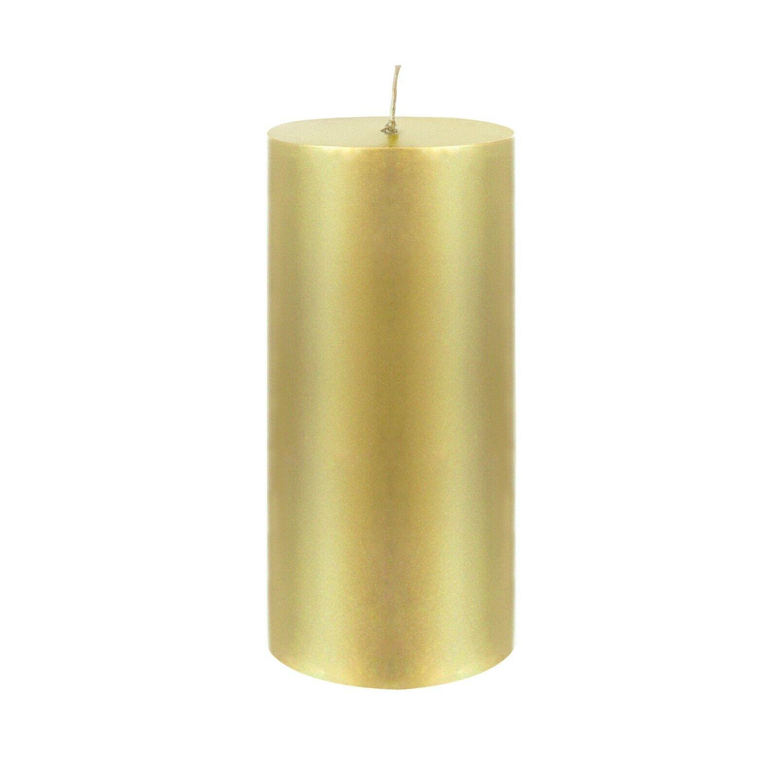 Mega Candles - Unscented 3 x 6  Hand Poured RND Premium Pillar Candle gold 6PCS