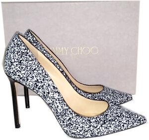 cd1b0f94202cf Jimmy Choo Romy Pointy Toe Pump Black White Glitter Heels Shoes 36 ...