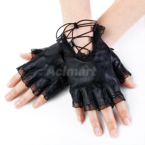 lady LOLITA Lace SHEEP Leather Fingerless gloves mitten