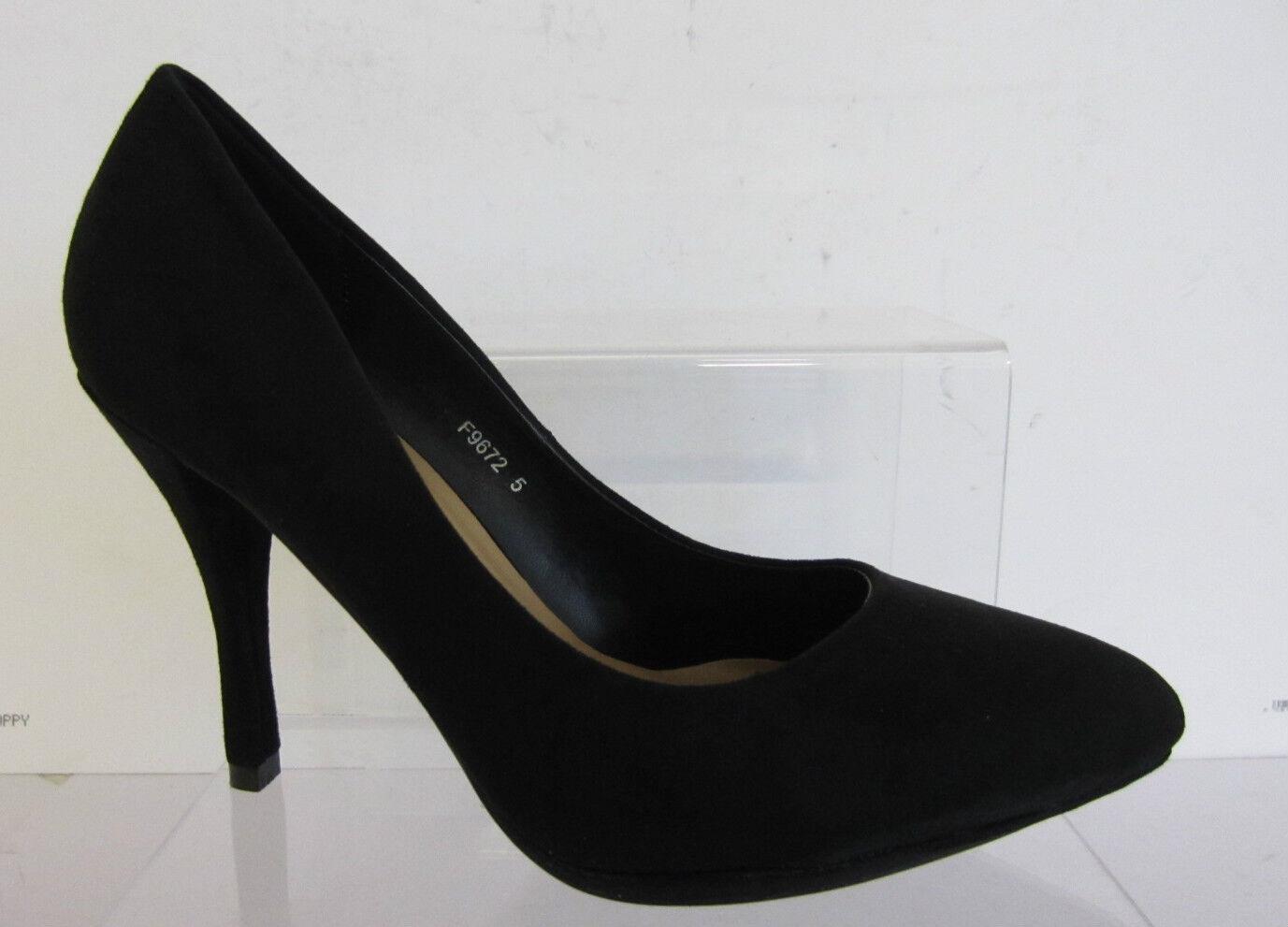 Spot On F9672 Ladies Court Shoes Black Microfiber  UK 3 X 8 (R10A)