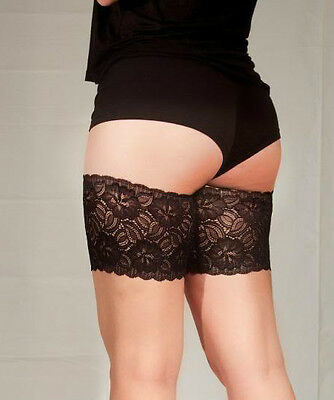 "Genuine Bandelettes Black Anti-Chafing Lace Thigh Bands 21""-32"""