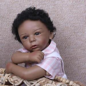 "Reborn Baby Doll Black African American 20/"" Ethnic Biracial Newborn Boy Girl Toy"
