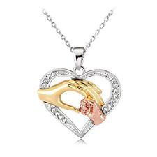 N1 Silver and Gold Plated Mother and Child Hand in Hand Heart Necklace Gift Box