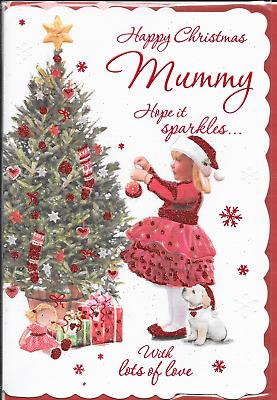 CC3 NIECE CHRISTMAS CARD,LABRADOR PUPPY DOG,TRADITIONAL DECORATING TREE,9X6 INCH