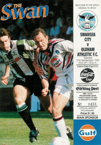 Swansea City v Oldham Athletic 21 Sep 1993 FOOTBALL PROGRAMME League Coca Cola