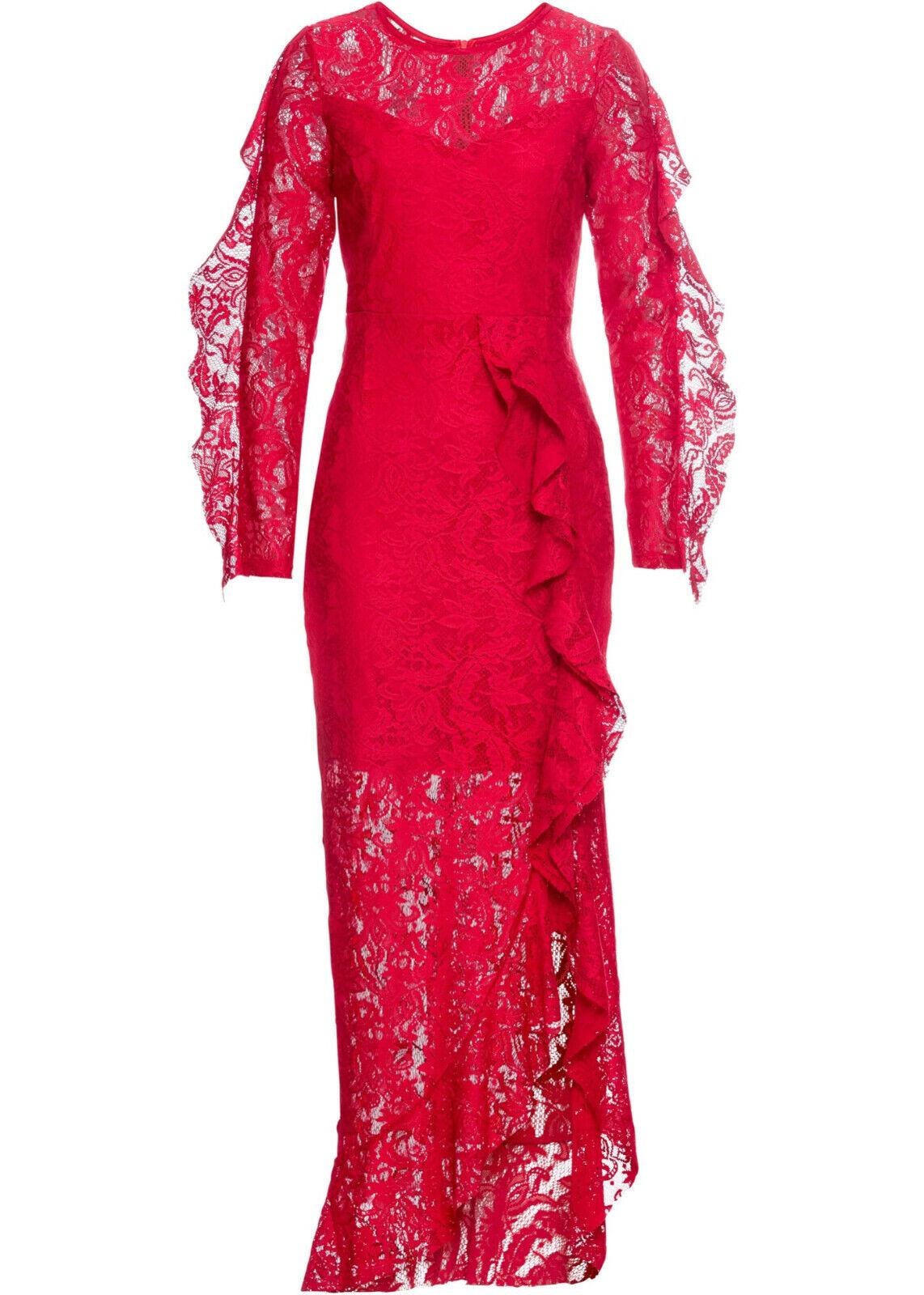 Festliches Abendkleid Kleid mit Volants aus zarter Spitze rot Gr. 36 38