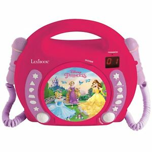 Princesse-Disney-Lecteur-CD-avec-Microphones-Enfants-Portable-Rose