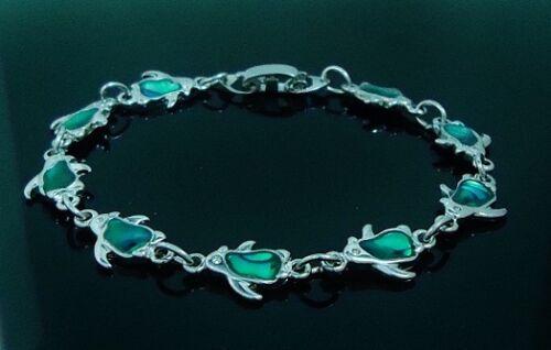 6.25 inch tiny Green Penguin Bracelet Paua Shell Inlay 15.87 cm