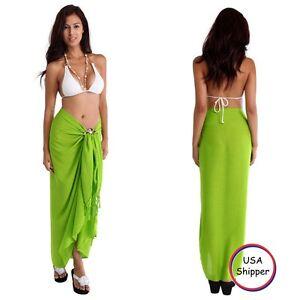 351f466f0c 1 World Sarongs Womens Lime Green Solid Sarong Cover-Up Skirt Wrap ...