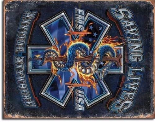 EMS Saving Lives Anytime Anywhere Rescue EMT Wall Art Decor Metal Tin Sign New