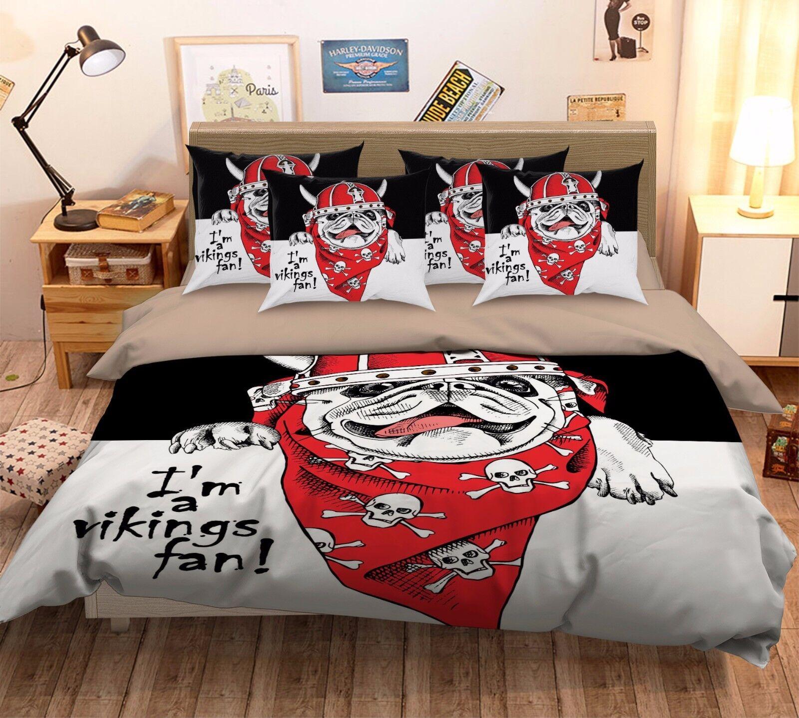 3D Cool Pirate Hund 562 Bett Pillowcases Quilt Duvet Startseite Set Single Königin CA