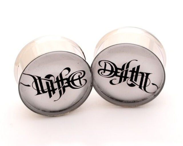 Pair of Life and Death Picture Plugs gauges Choose Size new