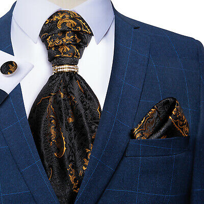 UK Paisley Mens Neck Ties Polka Dots Cravats Silk Ascots Hanky Cufflinks Sets