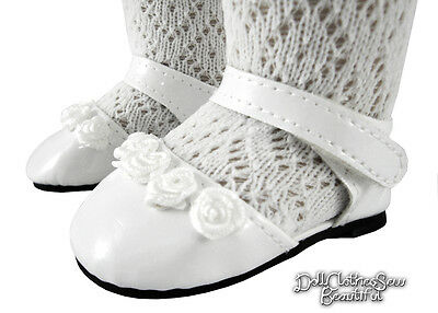 "White Patent Ankle Strap Shoes made for 18"" American Girl Doll Clothes"