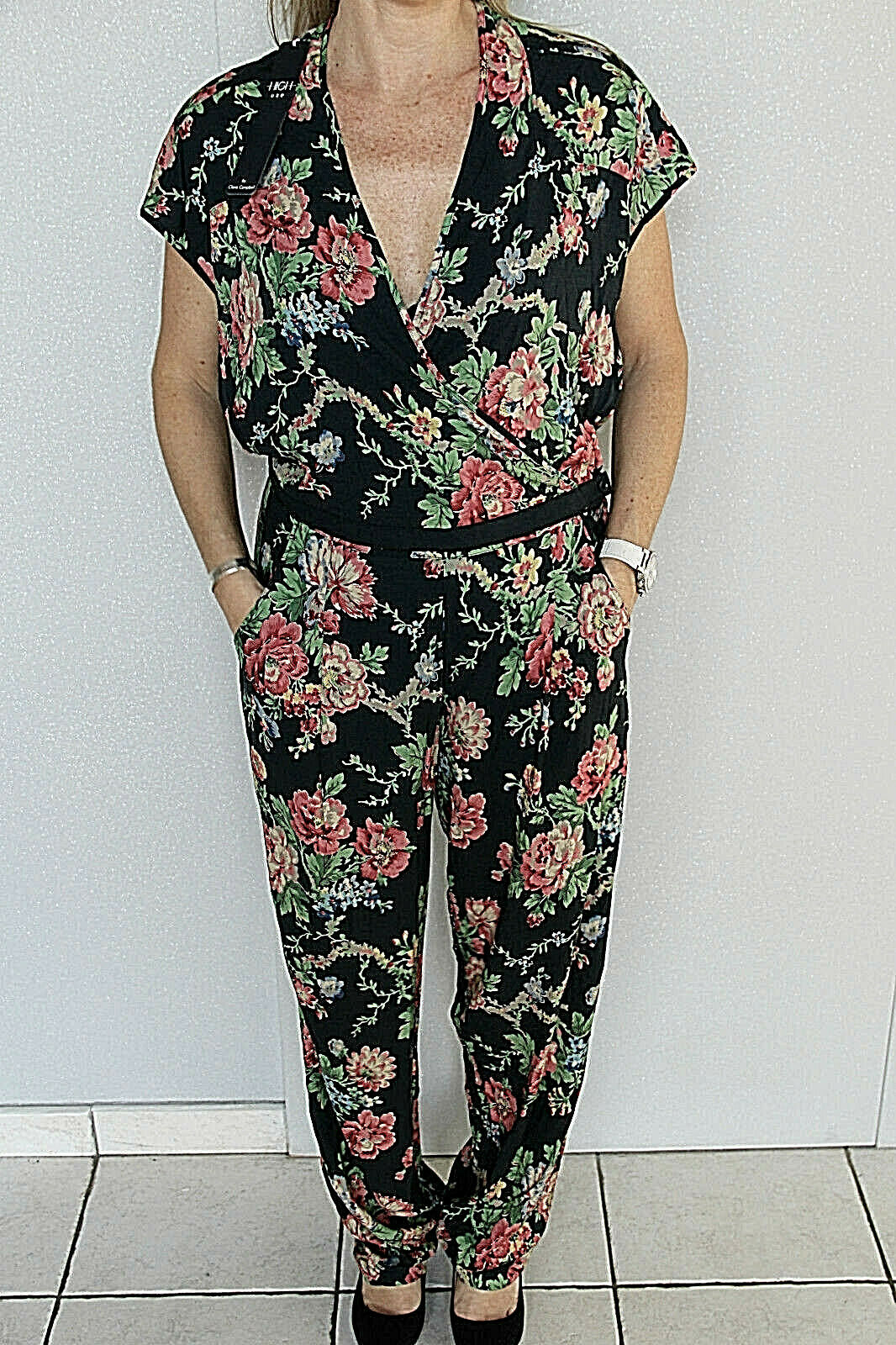Ensemble fleuri viscose stretch HIGH USE by claire campbell 36 fr NEUF val