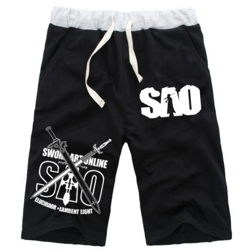 Men/'s Anime Sword Art Online Sweat Board Shorts Casual Sport Cotton Short Pants