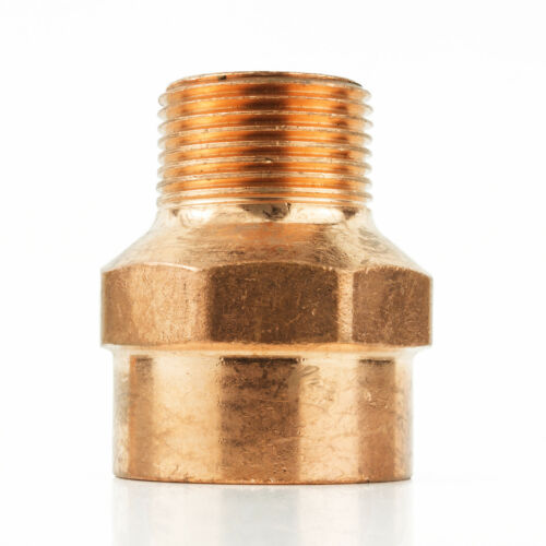 """1/"""" x 1//2/"""" CxM Copper Male Adapter Sweat x MIP Thread Plumbing Reducer Fitting"""