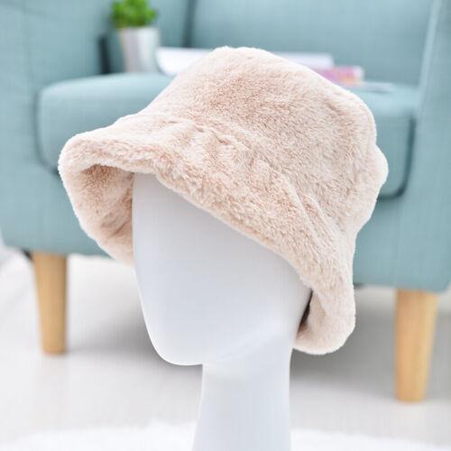 Women Girls Warm Hat Faux Fur Winter Bucket Hat Fashion Solid Soft Cap Christmas