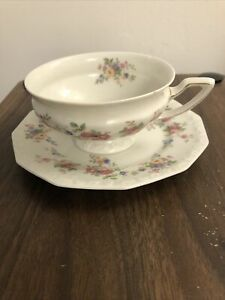 ROSENTHAL Selb Bavaria Germany MARIA Gold and Floral Teacup and Saucer Vtg
