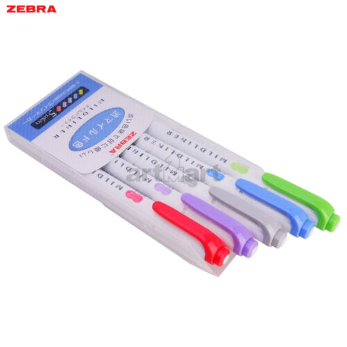 Japan Zebra Pen 2 Sides Mildliner Mild 5 Colors Highlighter Marker Set WKT7-5NC