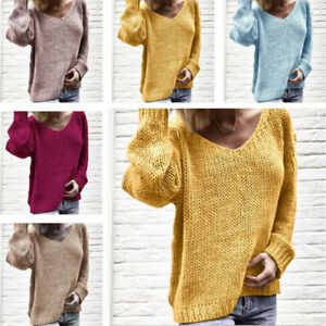 Long-Sweater-Knitted-Women-039-s-Jumper-V-Neck-Loose-Tops-Pullover-Sleeve-Knitwear