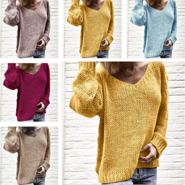 Long Sweater Knitted Women's Jumper V Neck Loose Tops Pullover Sleeve Knitwear