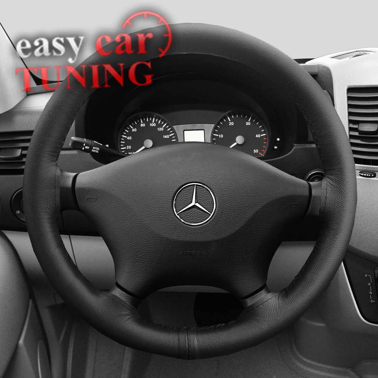 BLACK REAL GENUINE LEATHER STEERING WHEEL COVER BLACK STITCHES