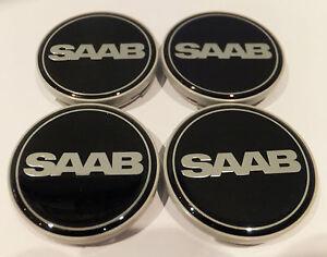 4-X-Aleacion-Negro-Saab-Centro-De-Rueda-Tapacubos-insignia-juego-de-4-63mm-9-3-9-5-900-Nuevo