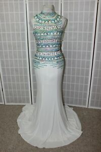 NWT Tiffany Designs 16117 Ivory Multi two piece long formal beaded gown Size 4