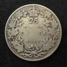 1912 Canada Twenty Five Cents George V Silver Canadian Coin A4517