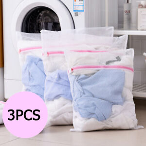 3x Laundry Washing Mesh Net Zipped Wash Bag Lingerie Underwear Bra Clothes Sock