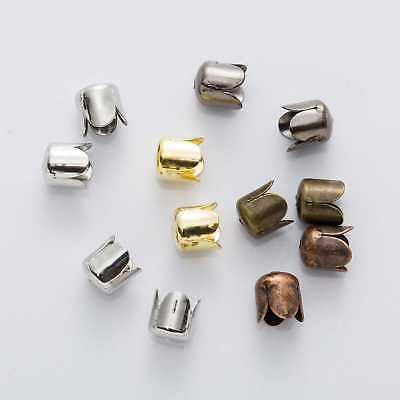 50 Piece Textured End Caps Crimp Beads Findings Jewelry Making 8-10mm