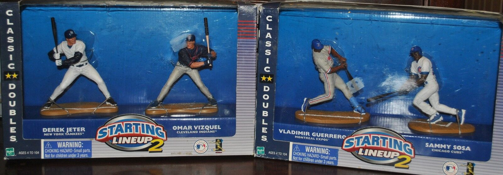 RARE CLASSIC DOUBLES STARTING LINEUP 2 JETER WITH VIZQUEL & GUERRERO WITH SOSA