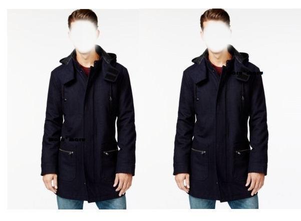 150 Macys AMERICAN RAG Slim Wool Coat MEDIUM Navy Blau sailor pea coat