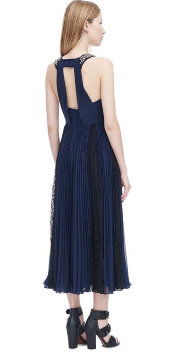 New Rebecca Taylor Sleeveless Pleated Embellished Midi Midi Midi Dress bluee  850, 10 c02c6a