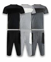 Men Tracksuit Side Zipper Two Tone Tops & Shorts Faux Leather Patches