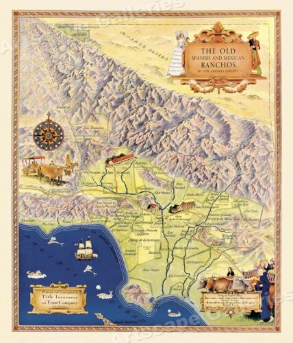1930s Old Spanish Ranchos Map of Los Angeles 24x28