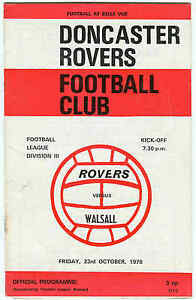 Football Programme  Doncaster Rovers v Walsall  Div 3  1970 - <span itemprop=availableAtOrFrom>London, London, United Kingdom</span> - Football Programme  Doncaster Rovers v Walsall  Div 3  1970 - London, London, United Kingdom