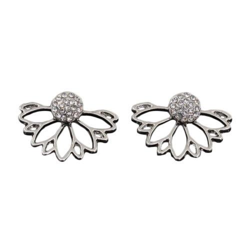 Crystal Royal Women Gold//Silver Ear Stud Floral Dangle Earrings Jewelry Hollow