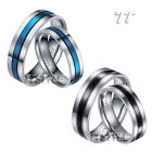 TTstyle Stainless Steel Black/Blue Stripe Wedding Band Ring Set For Couple NEW