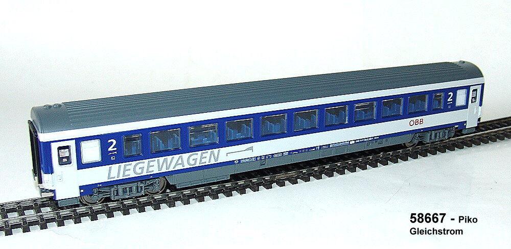 Piko  58667 -  Liegewagen  2.Kl. der  ÖBB -  Bcmz - blau lichtgrau  neu    Ästhetisches Aussehen