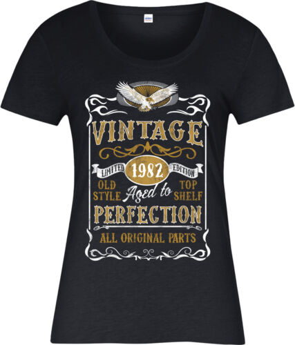 Born 1982 Birthday Age Year Personalised Made in 1982 Vintage Ladies T-Shirt