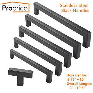 Probrico Modern Black Stainless Steel Kitchen Cabinet Door handles