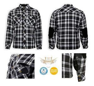 gran variedad de estilos estilo popular Últimas tendencias Detalles de Bores Lumberjack Kevlar Camisa Chaqueta de Moto Leñador Óptica  Negro Blanco