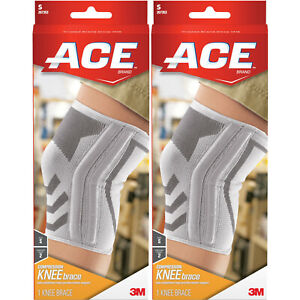 2 Pack Ace Knitted Knee Brace With Side Stabilizers Small