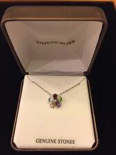 Sterling Silver Multi Color Genuine Stones Flower Pendant Necklace