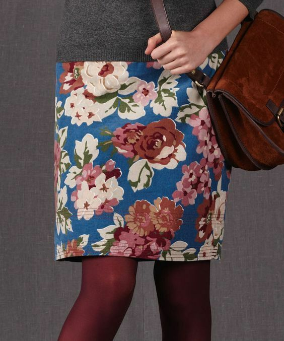 NEW Boden Mulberry Everyday Cord Floral Skirt Size US 6