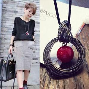 Mode-Dame-Kreis-Rot-Lange-Kette-Perle-Statement-Pullover-Halskette-Mit-Anhaenger