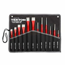 Cold Chisel and Punch 12-Piece Set With Heavy Fabric Roll Up Pouch TEKTON 67381
